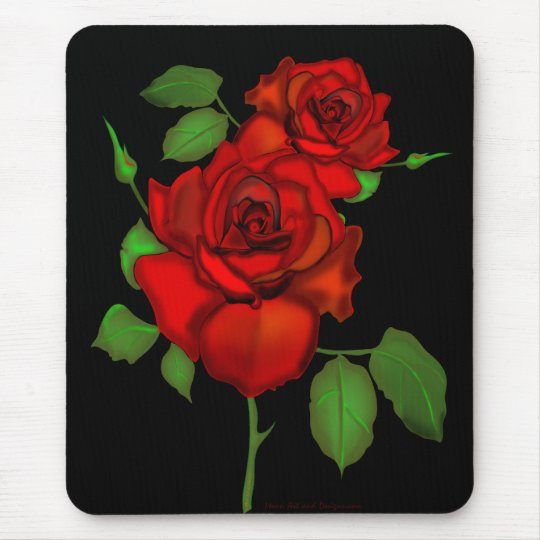 Rose Red Illustration Mouse Mat