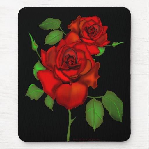 Rose Red Illustration Mousemats