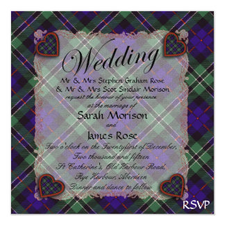 Rose Scottish clan tartan - Plaid 13 Cm X 13 Cm Square Invitation Card