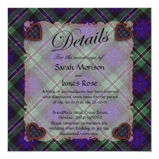 "Rose Scottish clan tartan - Plaid 5.25"" Square Invitation Card"