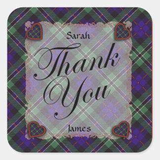 Rose Scottish clan tartan - Plaid Square Sticker