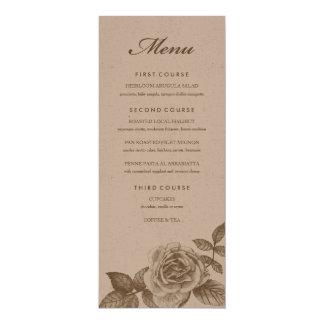 Rose Sketch Dinner Menu in Sepia 10 Cm X 24 Cm Invitation Card