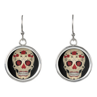 Rose Skull Jewelry - Day of the Dead Skull Jewelry Earrings