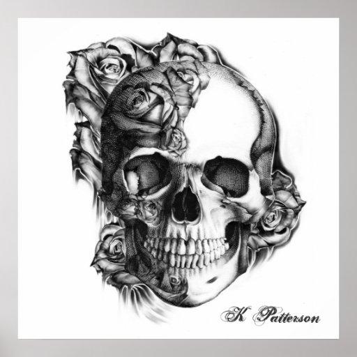 rose skull poster