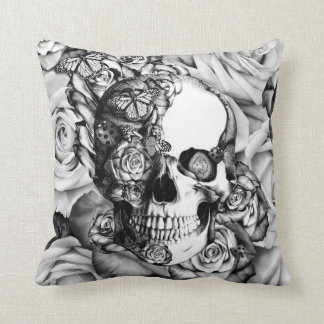 Rose skull with butterflies in black and white. throw pillow