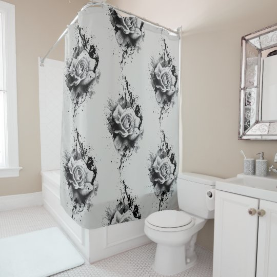 rose splatter customisable shower curtain