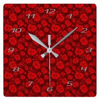 rose square wall clock
