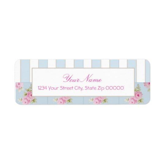 Rose & Stripe <Blue> Avery Label Return Address Label