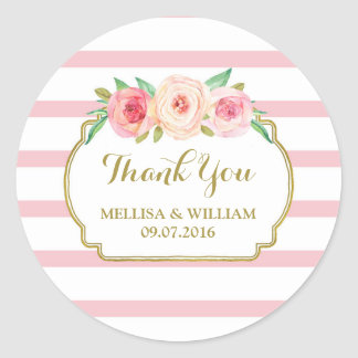 Rose Stripes Gold Pink Floral Wedding Favor Tags