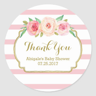Rose Stripes Pink Floral Baby Shower Favor Tags Round Sticker