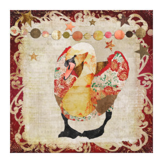 Rose Swan Radiant Red Twilight Stretched Canvas Print