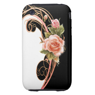 Rose Swirl Pink (BW) iPhone 3 Tough Cases