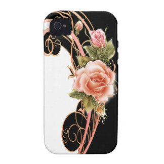 Rose Swirl Pink BW iPhone 4 Cover