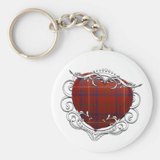 Rose Tartan Heart Key Ring