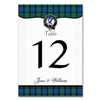 Rose Tartan Plaid and Clan Badge Table Number Table Cards