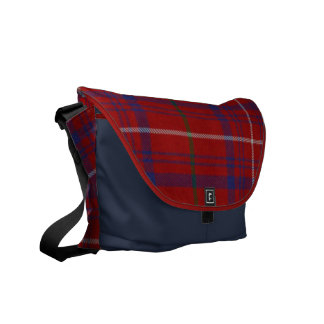 Rose Tartan Plaid Messenger Bag
