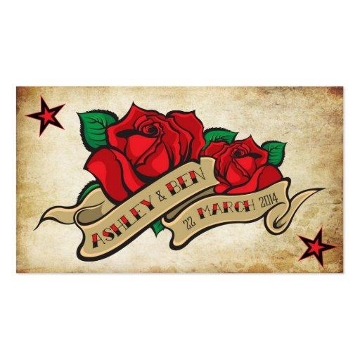 Rose Tattoo Custom RSVP Business Card Template