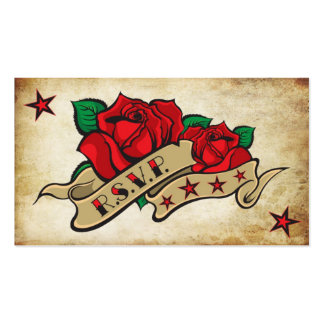 Rose Tattoo Custom RSVP Pack Of Standard Business Cards