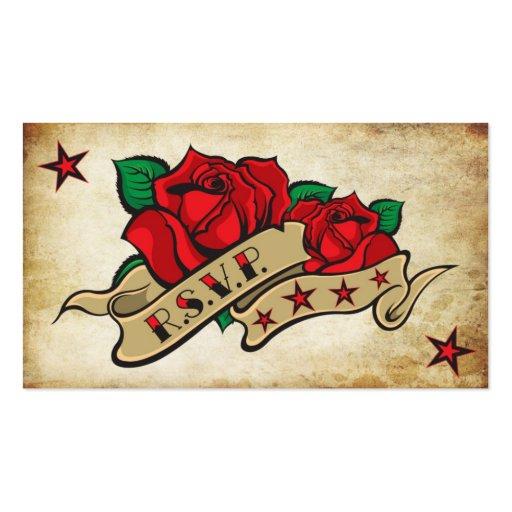 Rose Tattoo Custom RSVP Business Card Templates