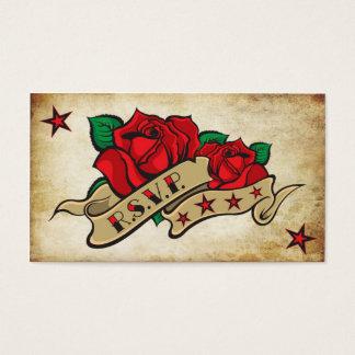 Rose Tattoo Custom RSVP Business Card