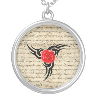 Rose Tattoo Silver Plated Necklace