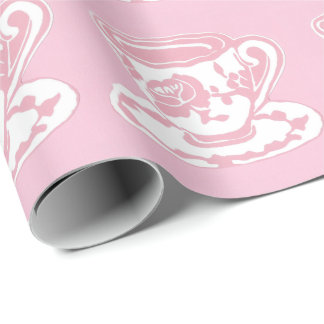 Rose Teacup Pattern Pink and White Wrapping Paper
