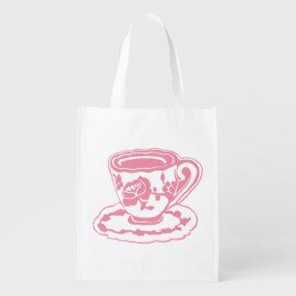 Rose Teacup Reusable Grocery Bag