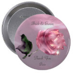 Rose Thank You Wedding Favour Pinback Buttons