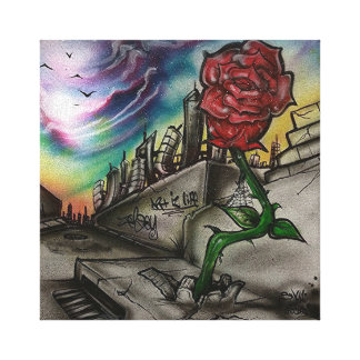rose that grew from concrete canvas print