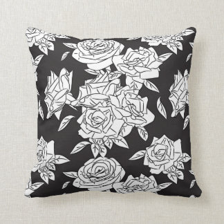 Rose Throw Pillow Black and White Pattern