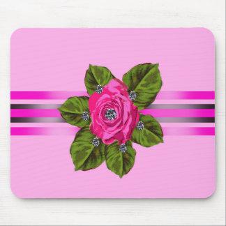 Rose_vintage flowers_diamonds_cute_ribbon_design mouse pad