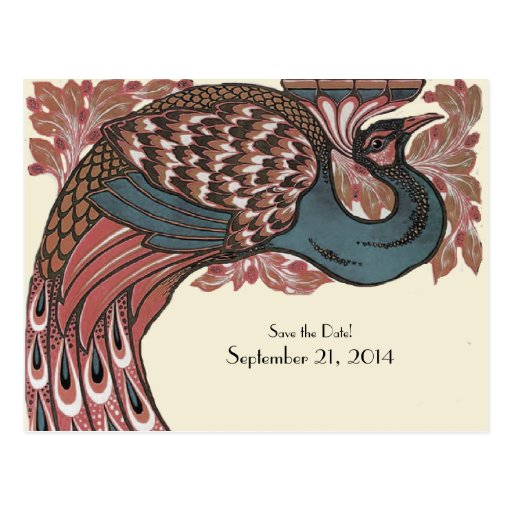 Rose Vintage Peacock Save the Date Post Cards