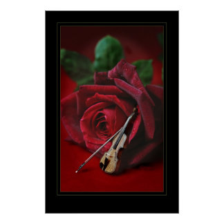 Rose & Violin 23x35 Print