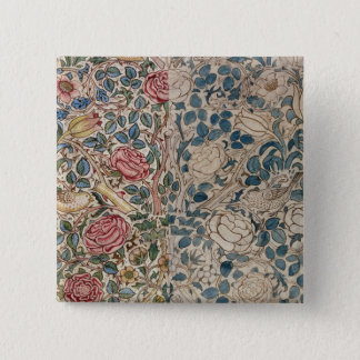 'Rose' wallpaper design (pencil and w/c on paper) 15 Cm Square Badge