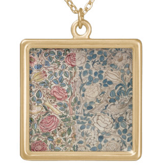 'Rose' wallpaper design (pencil and w/c on paper) Gold Plated Necklace