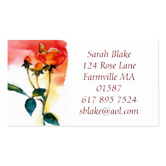 Rose Watercolor Business Card