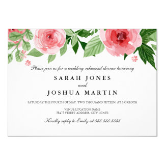 Rose Watercolor Flowers Rehearsal Dinner Invite