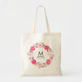 Rose Watercolor Monogram Floral Stylish Modern Tote Bag