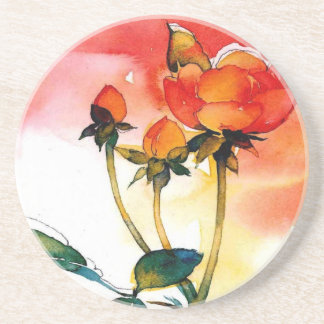 Rose Watercolor Sandstone Coaster