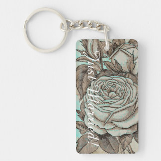 Rose Wedding Key Chain. Blue and Stone Colors Key Ring