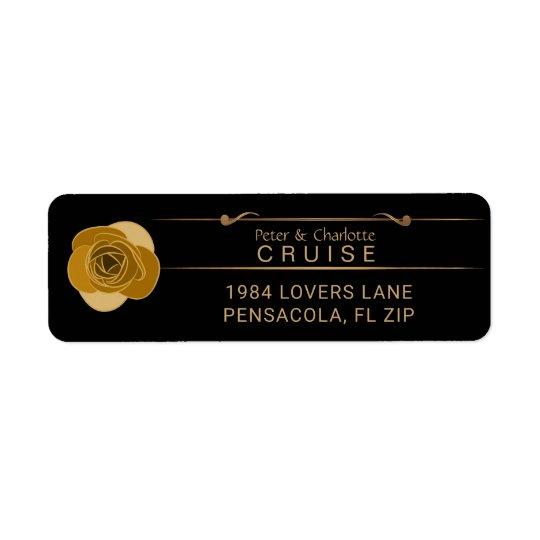 Rose Wedding Monogram Labels | Glam Gold Black