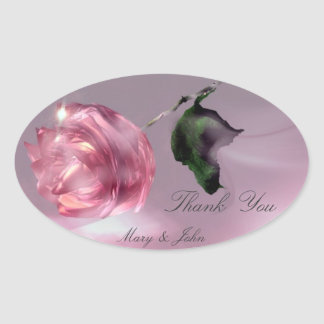 Rose Wedding Thank You Oval Stickers