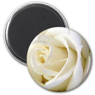 Rose White 6 Cm Round Magnet