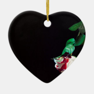 Rose white blood red side ceramic heart decoration