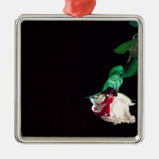 Rose white blood red side christmas ornament