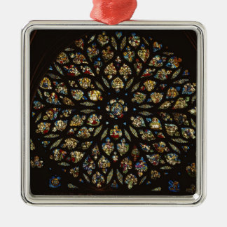 Rose window above the west door, with scenes depic christmas ornament