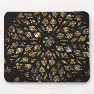 Rose window above the west door, with scenes depic mouse mat