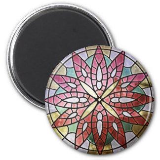 Rose Window - Red Round Magnet