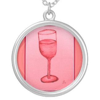 ROSE WINE GLASS PRINT ROUND PENDANT NECKLACE