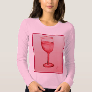 ROSE WINE IN RED GLASS PRINT BY JILL T SHIRT